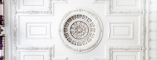 Image of ornate ceiling in Hinxton Hall