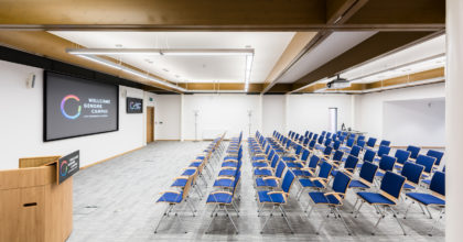 Image of the Rosalind Franklin Pavilion meeting room, theatre layout