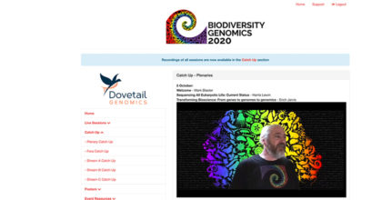 Screenshot from Biodiversity Genomics 2020 online conference