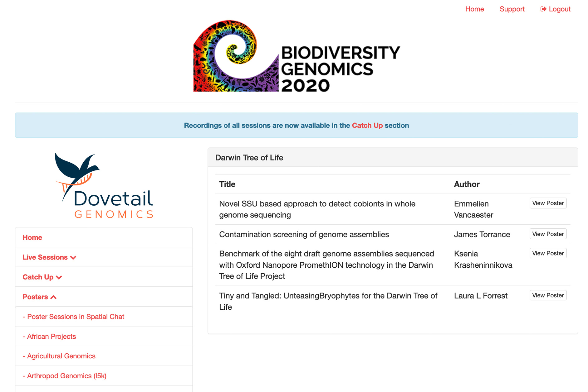 Screenshot from Biodiversity Genomics 2020 virtual conference