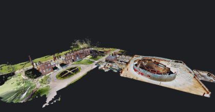 Dolls house view of the Wellcome Genome Campus Conference Centre from virtual tour